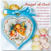 8.9cm Guardian Angel Blue Wood Crib Medal Italian Heart Shaped Crib Medal Boxed