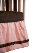 Go Mama Go Designs 40.6cm Pink with Chocolate Polka Dot Dust Ruffle with Chocolate Satin Trim, Chocolate/Pink