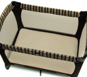 J.Lamb & Friends Natural Cotton Top Waterproof Porta Crib Pad, Ecru