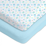 Gerber 2 Pack Cotton Knit Fitted Crib Sheets Blue/White Cars Design