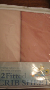 2 Fitted Cotton Knit Crib Sheet in Shades of Pink