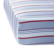 Blue/Red Club Stripe Crib Sheet