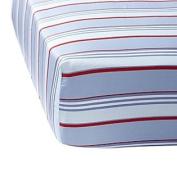 Blue/Red Club Stripe Crib Sheet
