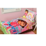 Dora the Explorer and Boots 4pc Satin Toddler Bedding Set