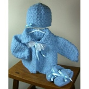 Baby Sweater Set (blue) Size 0-6 Months, Handmade, Baby Gift, Made In USA