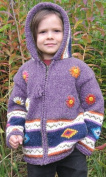 Purple Flowered Child's Sweater with Pointy Hood, Infant Size