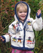 White Child's Pointy Hooded Sweater with People Holding Hands Design, Infant Size