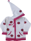 White Child's Sweater with Pointy Hood, Infant Size