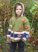Green Flowered Child's Sweater with Pointy Hood, Infant Size