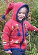 Red Child's Pointy Hooded Sweater with People Holding Hands Design, Size 2