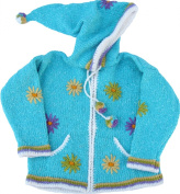 Turquoise Child's Sweater with Pointy Hood, Infant Size