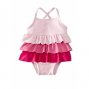 Baby Boutique® Baby Girl's Pink Ruffle Bathing Suit with SPF-50+, Size