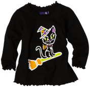 Flap Happy Baby-Girls Infant Silk Screened Lettuce Edge Tee, Wizard Kitty, 24 Months