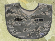 "#3000 Air Force ABU Airman Bib, Nicely decorated with embroidered ""Airman- Air Force"" and sewn on simulated pockets"
