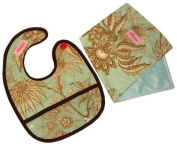 2 Red Hens Bib & Burp Cloth Set, Seymour