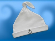 #750 Navy 1pc White Cap with Knot and Anchor Embroidery