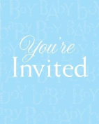 'Baby Love' Blue Baby Shower Invitations