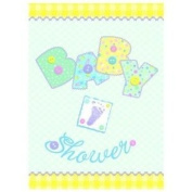 6 x 8ct Baby Pastel Stitching Invitations With Envelope