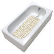 Bath Tub Non Slip Mat - No Suction cups - Adheres to the Bathtub! Beige/White