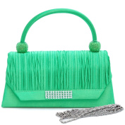Dasein Pleated Rhinestone Accent Clutch -Green