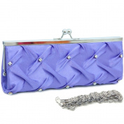 Dasein Kiss Lock Pleated Front Clutch w/ Rhinestone -Purple
