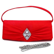Dasein Flap Over Front Clutch w/ Diamond Shape Rhinestone Accent -Red