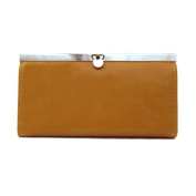 Metallic Clasp Toffee Clutch
