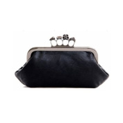 Wisedeal 1pc Faux Leather Skull Clutch PU Purse Rings Duster Knuckle Style Party Bag Night Club