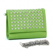 Dasein Dasein Clutch w/ Rhinestone Studded Top Flap -Green