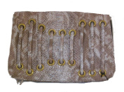 Korto Momolu Liberty Brown Snake Skin Clutch