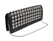 Glossy Black Textured Clutch Purse with Conical Chrome Spikes