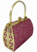 Sparkling Pink Glitter Clutch Handbag w/ Chain Strap - Girl's Fashion Accessory
