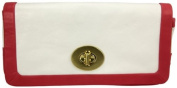 Coach White and Red Leather Clutch Wallet