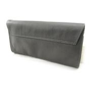 "Leather clutch bag ""Frandi"" satin gray (2 bellows)."