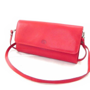 "Leather clutch bag ""Frandi"" red dakota (2 bellows)."