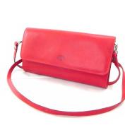 "Leather clutch bag ""Frandi"" red dakota (2 bellows)."