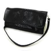 "Leather clutch bag ""Frandi"" black python (2 bellows)."