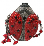 Mary Frances Red Lady Bug Convertible Clutch Handbag
