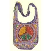 Purple Cotton Peace Sign Embroidery Bohemian / Hippie Sling Crossbody Bag India