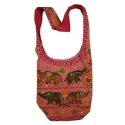 Cotton Elephant Patch Bohemian / Hippie Sling Crossbody Bag India Pink