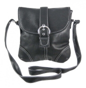 Black Vinyl Satchel with Contrast Stitching and Buckle