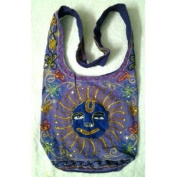 Purple Cotton Sun Embroidery Bohemian / Hippie Sling Crossbody Bag India