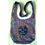 Purple Cotton Sun Embroidery Bohemian / Hippie Sling Crossbody Bag India