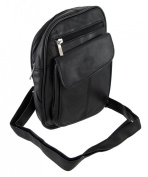 Black Leather Crossbody Bag with Small Phone Holder