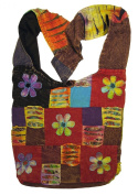 Happy Flowers Razor Cut Patchwork Sling, Crossbody Handbag Purse