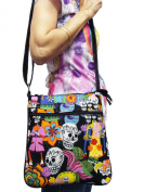 US HANDMADE FASHION DAY OF THE DEATH Los Novios Rockabilly Gothic Halloween Pattern Cross Over Body Shoulder Bag Style Handbag Purse Alexander Henry Cotton Fabric, CSOP1022