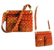 Maggi B French Country Red Mosaic Quilted Crossbody Bag