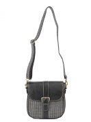Ivory Tag Black Leather & Houndstooth Crossbody Bag