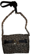 Women's Calvin Klein Purse Handbag Keylock Crossbody Khaki/Brown