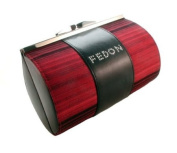 Georgio Fedon Hard-Shell Evening Bag in Red With Crystal Logo & Easy Open Magnetic Clasp